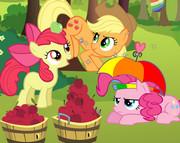 Пони собирают яблоки